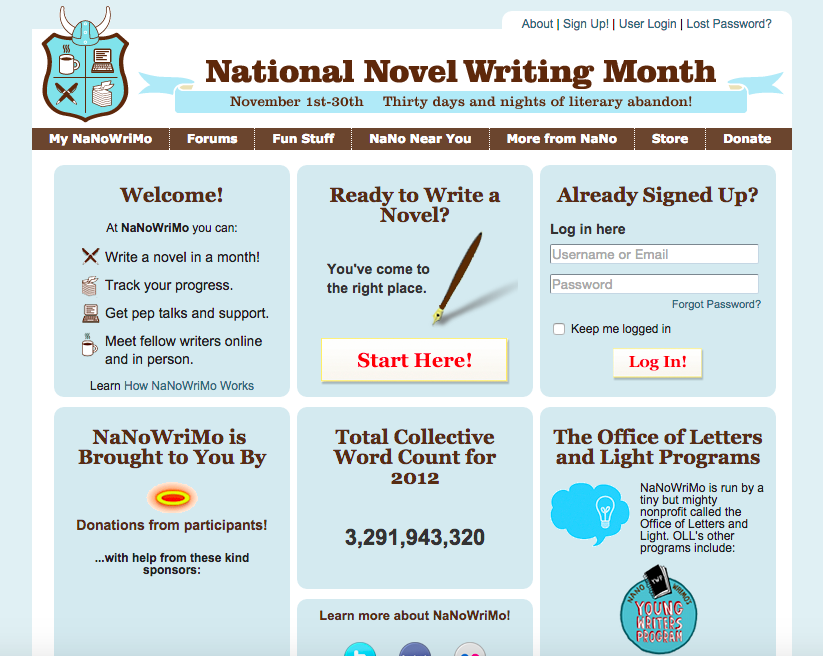 National Novel Writing Month website screenshot